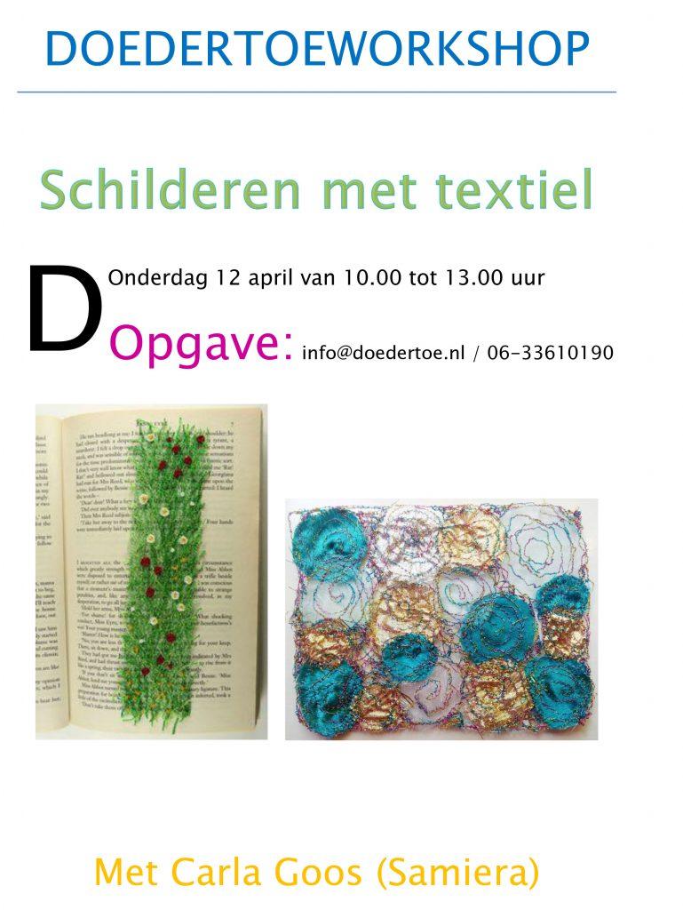poster schilderen met textiel